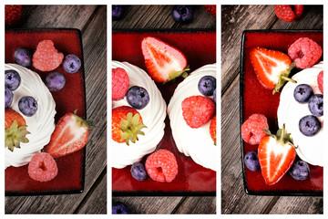 Summer fruit platter triptych Wall mural