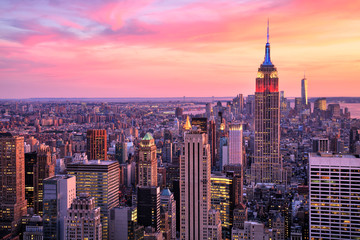 New York City Midtown with Empire State Building at Amazing Sunset Wall mural