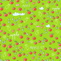 Seamless pattern with apples, hearts, clouds and drops