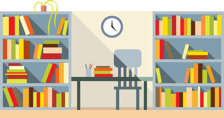 Vector flat style library interior