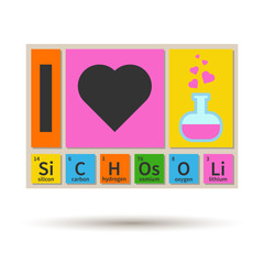 I Love School chemistry theme banner with periodic table element