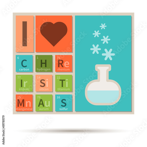 I Love Christmas Banner With Periodic Table Elements Stock Image