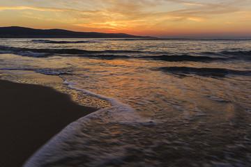 Sunrise on the coast of Sunny Beach in Bulgaria