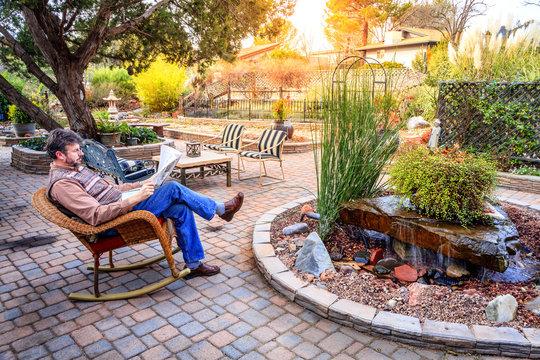 Relaxing in a garden