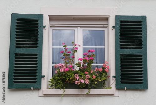 Fenster Mit Grunen Fensterladen Und Blumenkasten Geranien Stock