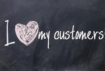 I love my customers sign on blackboard