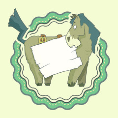 Hand Drawn Label of Character Horse with wooden poster Isolated