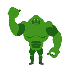 Angry Green Monster. Scary Goblin big and strong on a white back