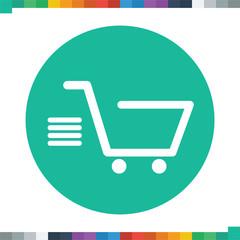 Flat speeding shopping cart icon.