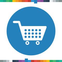 Flat shopping cart icon.