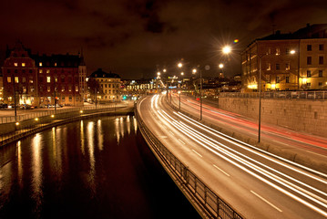 Night view of Old Town of Stockholm, Sweden
