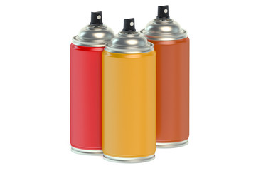Colored spray paint cans