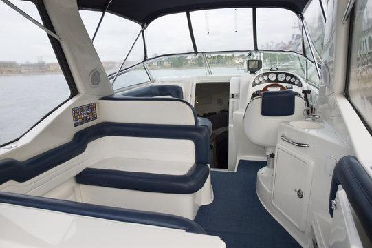 Interior of a motor boat