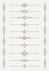 Set of 10 decorative vector mono line style text dividers with p
