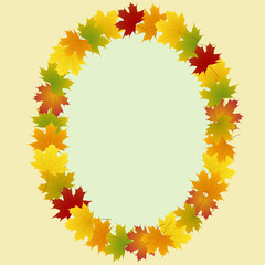 Wall Mural - frame of maple leaves oval