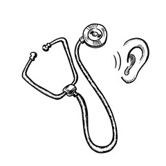 Medical stethoscope and human ear