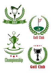 Golf club and championship emblems