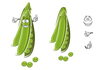 Cartoon green pea pod character