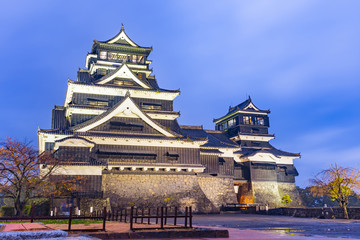 Kumamoto Castle at night in Chuo-ku, Japan