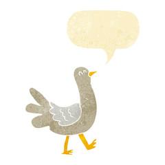 cartoon walking bird with speech bubble