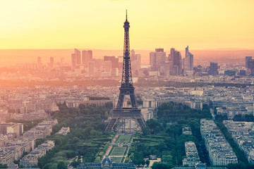 The sunset at Paris city with Eiffel Tower in France