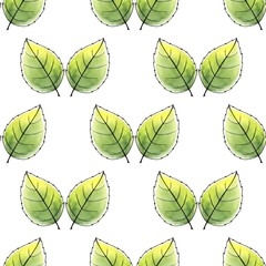 Just leaves. Seamless pattern. Watercolor background 1