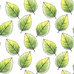 Just leaves. Seamless pattern. Watercolor background 2