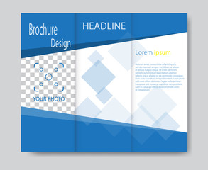 Vector brochure template design with blue elements. EPS 10