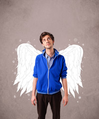 Cute manl with angel illustrated wings