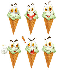 Ice cream cone with faces