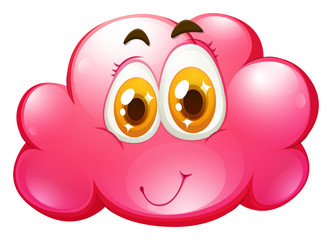 Happy face on pink cloud