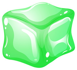 Gree ice cube on white