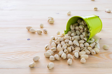 Pistachio nuts are lined