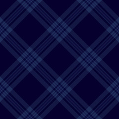 Dark blue tartan diagonal seamless pattern background