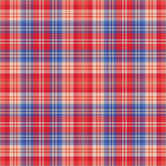 Vector red and blue plaid tartan seamless pattern background