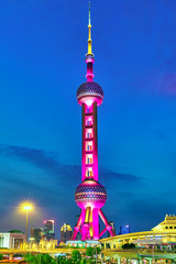 SHANGHAI-MAY 24, 2015. Oriental Pearl Tower at the nighttime. To