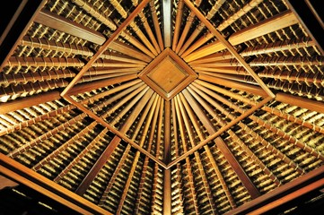 A picture of bamboo hut roof.