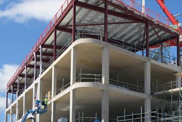Construction worker on platform