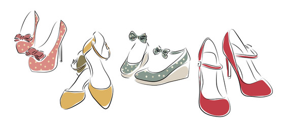 Collection of Woman Shoes. Vector of Female Collection Shoes