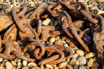 Old rusty ship chain