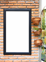 Poster template on Brick wall with Plant decoration