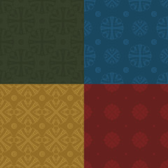 Set of four seamless colored patterns