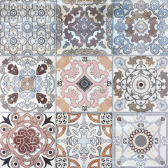 Beautiful old ceramic tile wall patterns in the park public.