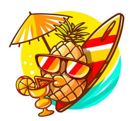 Vector illustration of colorful yellow hipster pineapple with su