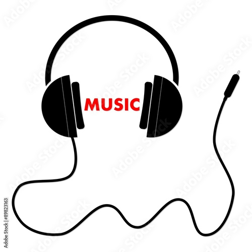u0026quot white headphones with cord and word music black u0026quot  stock image and royalty