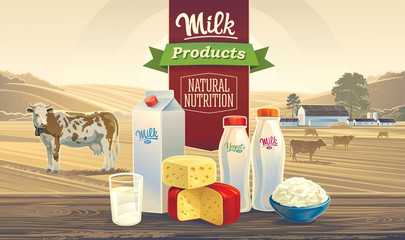 """Rural landscape with a cow, and set of milk products, with the words: """"Milk product, natural nutrition""""."""