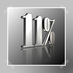3D Prozentangabe und Prozentzeichen in Silber mit Spiegelung