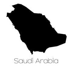Country Shape isolated on background of the country of Saudi Ara