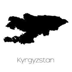 Country Shape isolated on background of the country of Kyrgyzsta