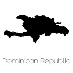 Country Shape isolated on background of the country of Dominican